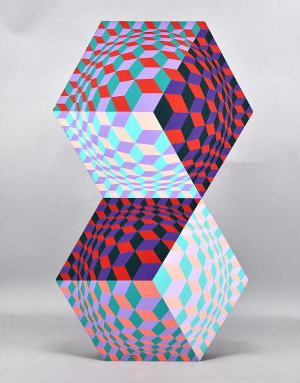 Victor Vasarely Sculpture, Kettes, 1984