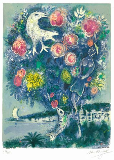 Marc Chagall Lithograph, La Baie des Anges au Bouquet de Roses (Angel Bay with a Bouquet of Roses), 1967