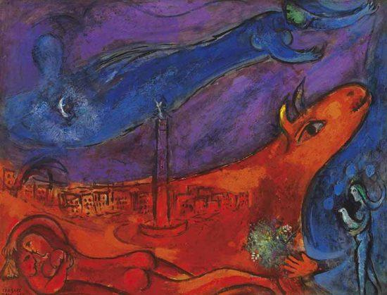 Marc Chagall Lithograph, La Bastille (The Bastille), 1954