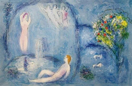 Marc Chagall Lithograph, La Caverne des Nymphes (The Nymph's Cave) from Daphnis et Chloé, 1961