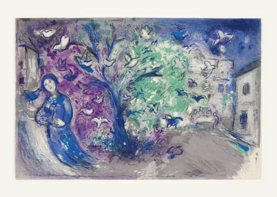 Marc Chagall Lithograph, La Chasse aux Oiseaux (The Bird Chase), from Daphnis et Chloé, 1961