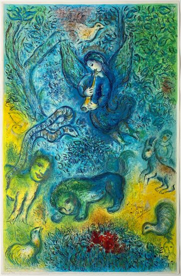 Marc Chagall Lithograph, La flûte enchantée (The Magic Flute), 1967