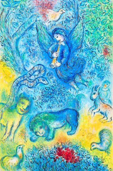 Marc Chagall Lithograph, La flûte enchantée (The Magic Flute), 1967