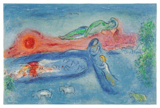 Marc Chagall Lithograph, La Mort de Dorcon (Dorcon's Death), from Daphnis et Chloé, 1961