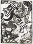 Frank Stella Etching, La Penna di Hu (Black and White)