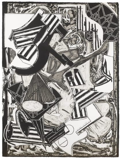 Frank Stella Lithograph, La Penna di Hu (Black and White), 1988
