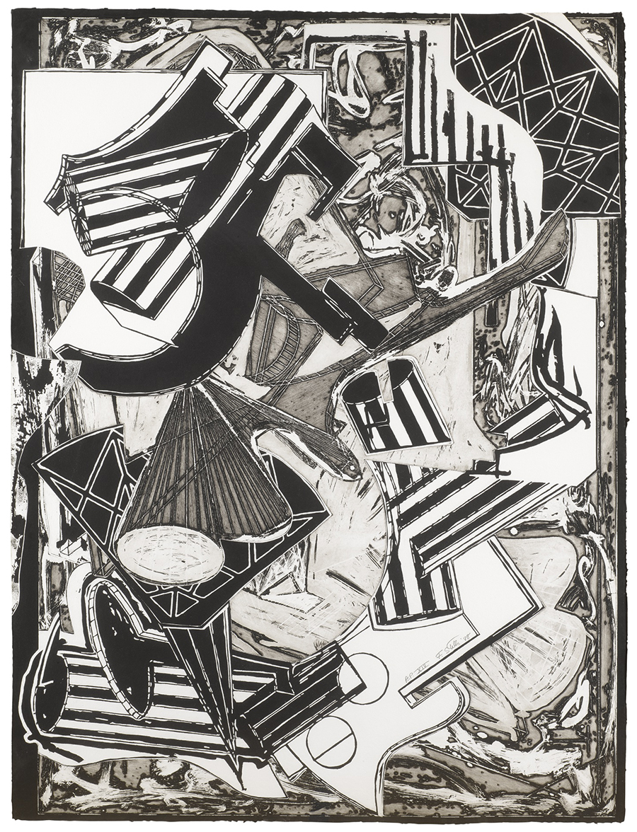 Frank Stella La Penne di Hu (Black and White) for sale (image 1)