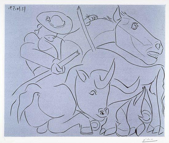 Pablo Picasso Linocut, La Pique Cassée (The Broken Spade), 1959