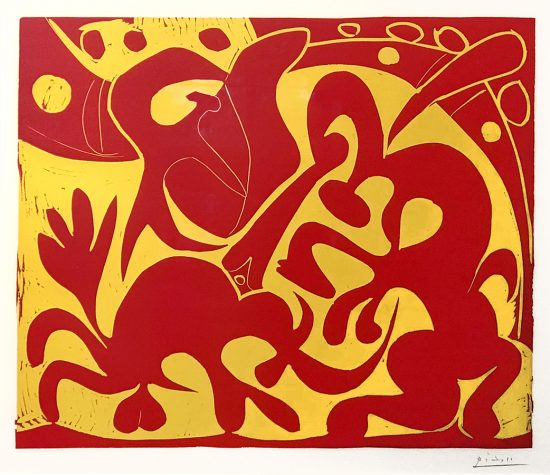 Pablo Picasso Linocut, La Pique en Rouge et Jaune (The Bullfight in Red and Yellow), 1959