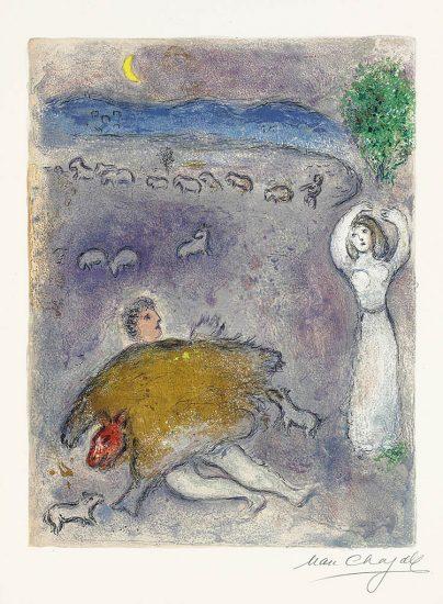 Marc Chagall Lithograph, La Ruse de Dorcon (Dorcon's Strategy), 1961