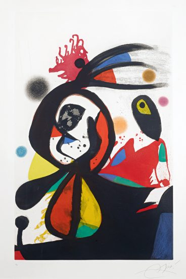 Joan Miró Lithograph, L'Aigrette Rouge (The Red Egret), 1976