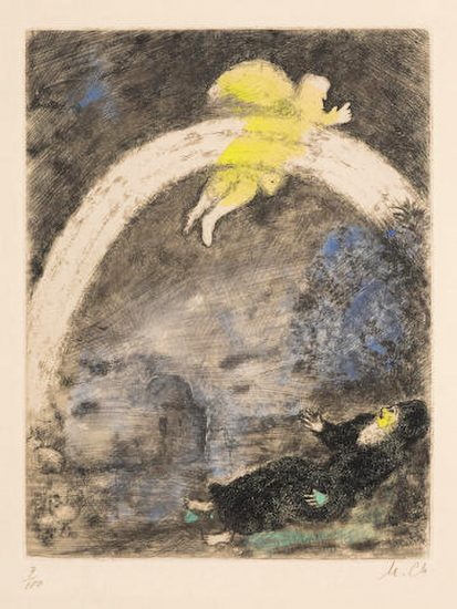 Marc Chagall Etching, L'arc en ciel, da la Bible (Rainbow, from the Bible), 1969