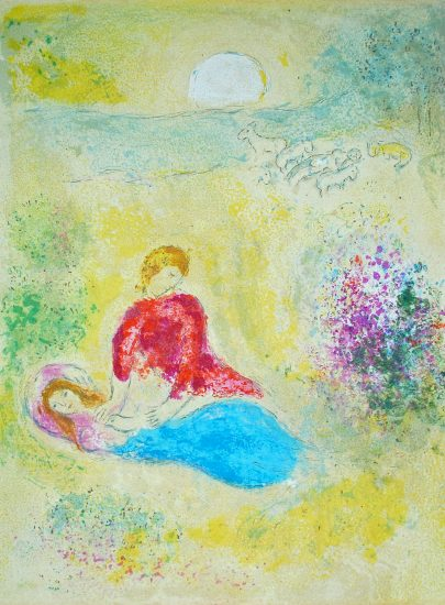 Marc Chagall Lithograph, L'Arondelle (The Little Swallow), from Daphnis et Chloé, 1961
