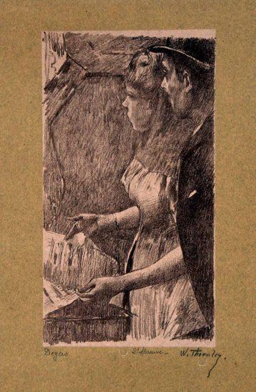 Edgar Degas Lithograph, L'Attente de la Chanteuse (Waiting for the Singer) c.1888