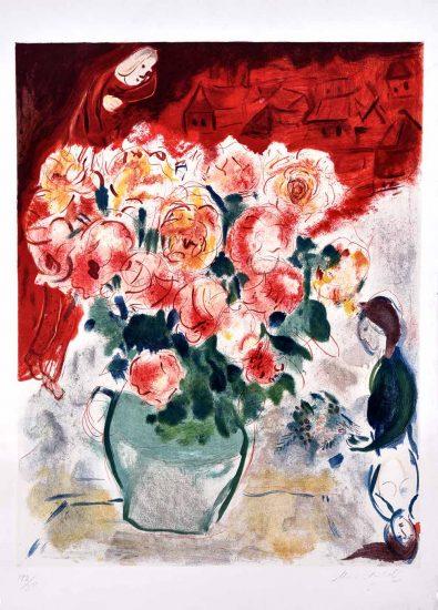 Marc Chagall Lithograph, Le Bouquet (The Bouquet), 1955