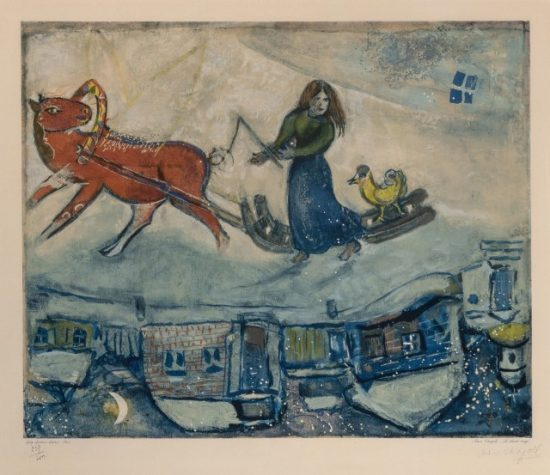 Marc Chagall Artwork, Le Cheval Rouge (The Red Horse), 1965