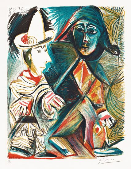 Pablo Picasso Lithograph, Le clown et l'Harlequin (The Clown and the Harlequin), 1971