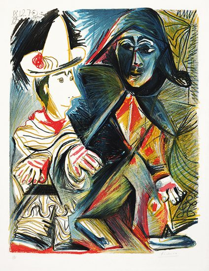 Pablo Picasso Lithograph, Le clown et l'Harlequin (Clown & the Harlequin)