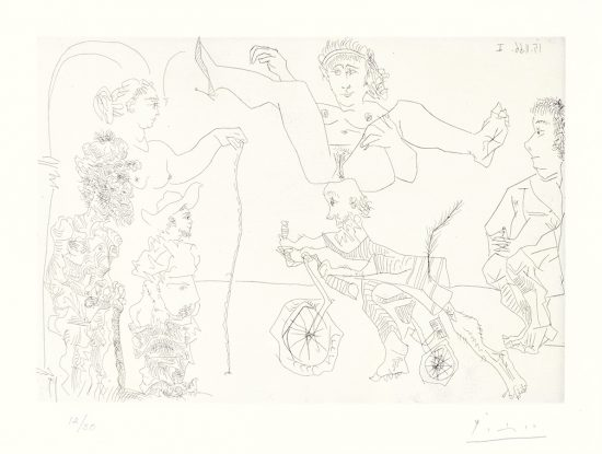 Pablo Picasso Etching, Le Cocu Magnifique (The Magnificent Cuckold) Plate 5, 1968
