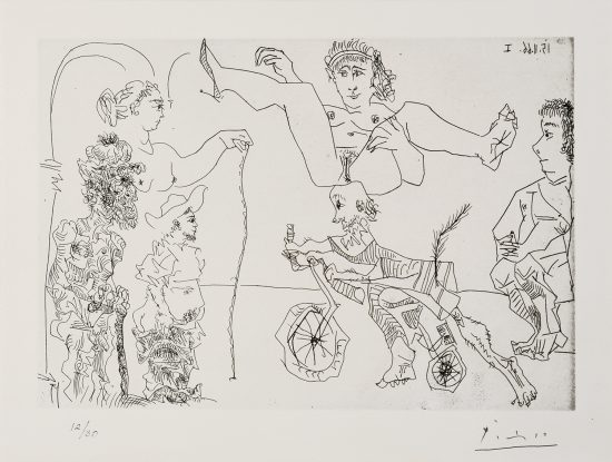 Pablo Picasso Lithograph, Le Cocu Magnifique (The Magnificent Cuckold) Plate 5, 1968