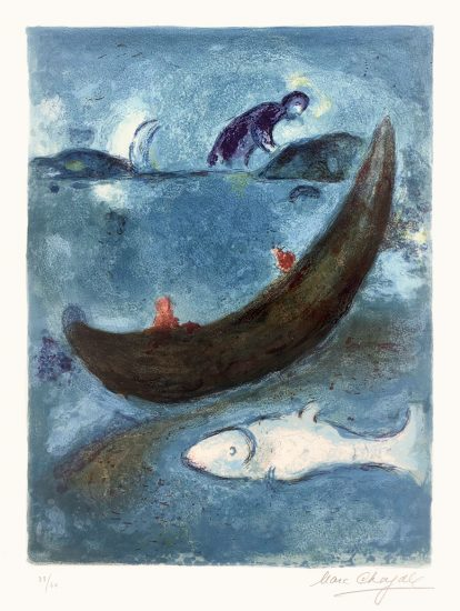 Marc Chagall Lithograph, Le Dauphin mort et les trois cents Écus (The Dead Dolphin and the Thee Hundred Dracmas) from Daphnis and Chloé, 1960