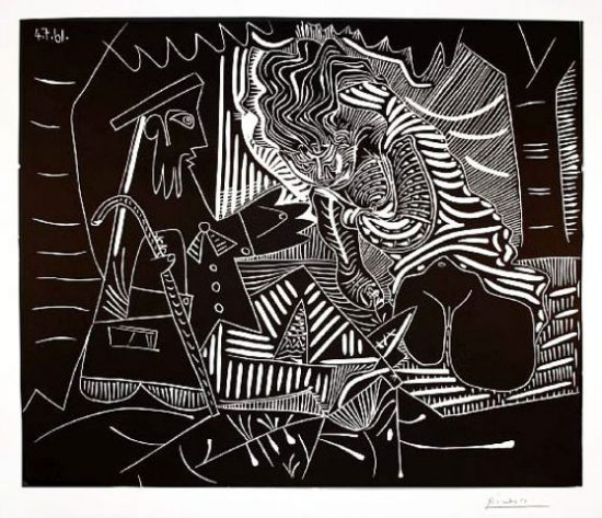 Pablo Picasso Linocut, Le Dejeuner sur l'Herbe (Luncheon on the Grass), 1961