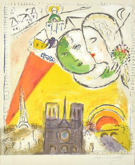 Marc Chagall Lithograph, Le Dimanche (On Sundays) from Derrière le Miroir, 1954