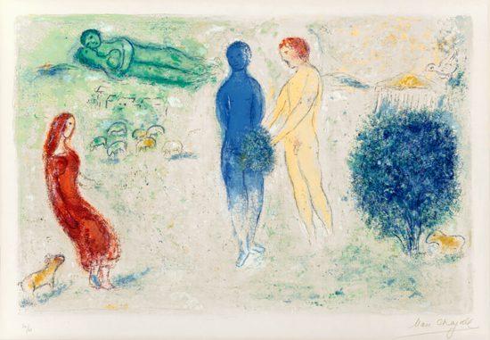 Marc Chagall Lithograph, Le Jugement de Chloé (Chloe's Judgement), from Daphnis et Chloé, 1961