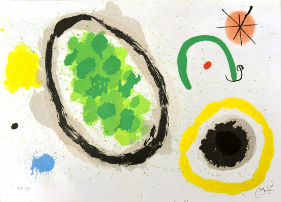 Joan Miró Lithograph, Le Lezard Aux Plumes d'Or (The Lizard with Golden Feathers), Pl. 9,1967