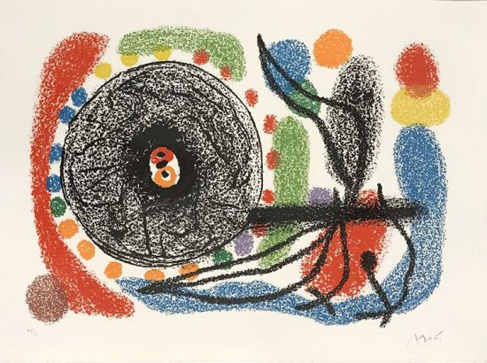 Joan Miró Lithograph, Le Lezard aux plumes d'or (The Lizard with Golden Feathers), Pl. 10, 1971