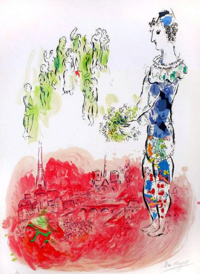 Marc Chagall Lithograph, Le Magicien de Paris (The Magician of Paris) II, 1969-1970