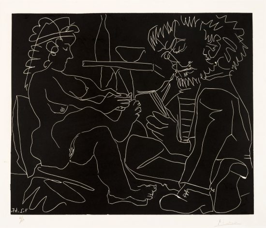 Pablo Picasso Linocut, Le peintre et son modèle (The Painter and the Model), 1965