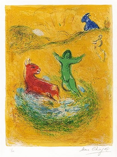 Marc Chagall Lithograph, Le Piège à Loups (The Wolf Trap), from Daphnis et Chloé, 1961