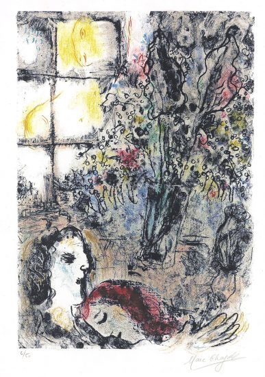 Marc Chagall Lithograph, Le soir d'été (The Summer Evening), 1968