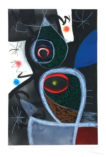 Joan Miró Etching, Le Somnambule (The Sleepwalker), 1974