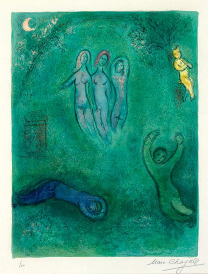 Marc Chagall Lithograph, Le Songe de Daphnis et les Nymphes (Daphnis' Dream and the Nymphs), from Daphnis et Chloé, 1961