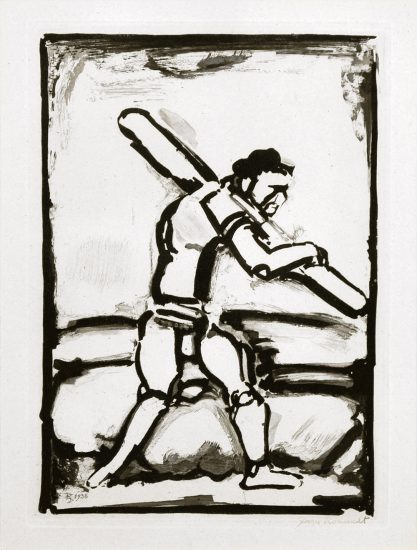 Georges Rouault Lithograph, Le Vieil Homme Chemine (Old Man Walking), 1936