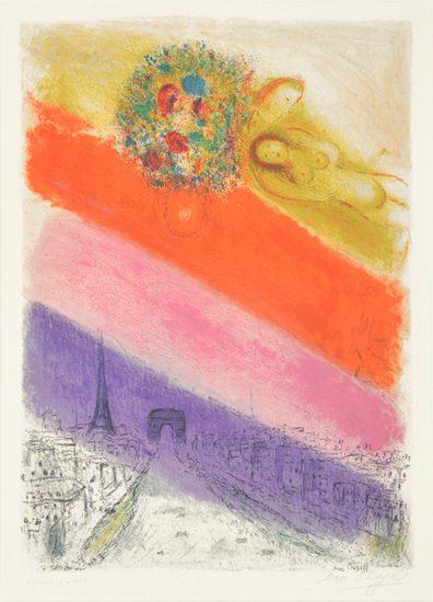 Marc Chagall Lithograph, Les Champs-Elysées, 1954