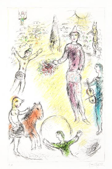 Marc Chagall Lithograph, Les Clowns Musiciens (Musical Clowns), 1980