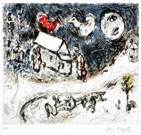 Marc Chagall Etching, Les Coqs sur la Toit (The Roosters on the Roof), 1968