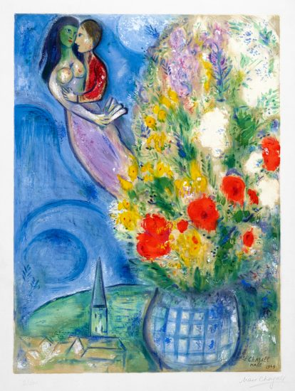 Marc Chagall Lithograph, Les Coquelicots (Red Poppies), 1949