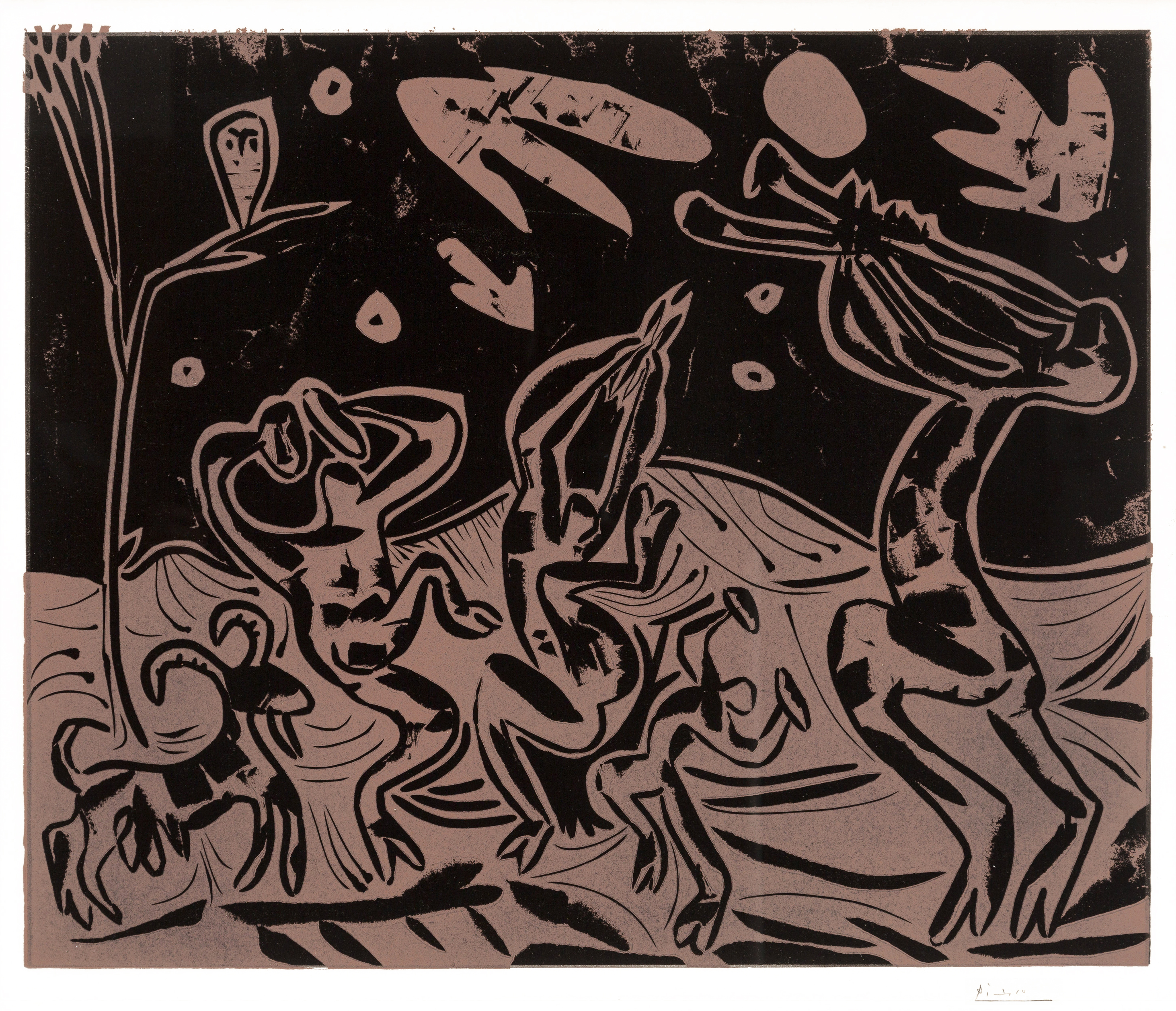 Pablo Picasso Color Linocut Les danseurs au Hibou 1959 for sale