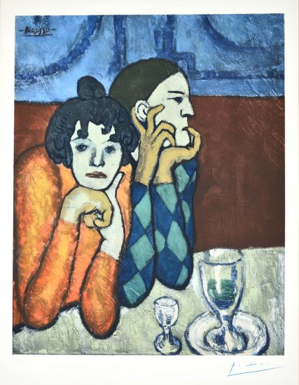 Pablo Picasso Lithograph, Les Deux Saltimbanques: l'Arlequin et Sa Compagne, c.1960