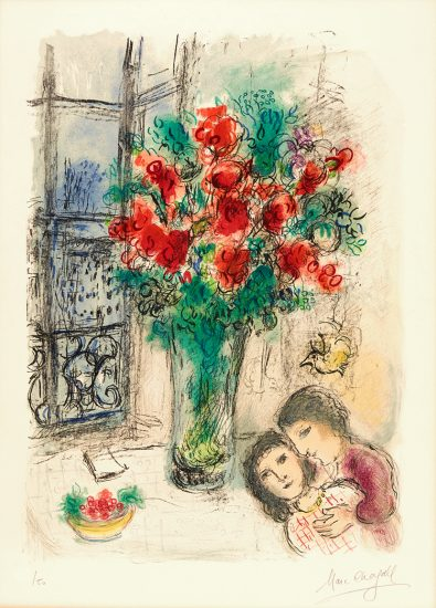 Marc Chagall Lithograph, Les Fleurs Rouges (Red Flowers), 1973