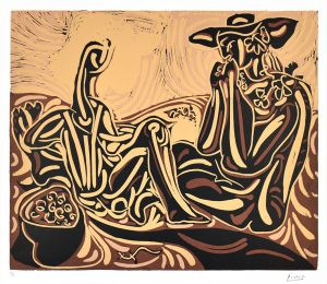 Pablo Picasso Linocut, Les vendangeurs (The Grape Harvesters), 1959