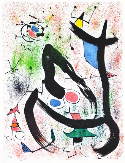 Joan Miró Lithograph, Les Voyants (The Seers), 1970
