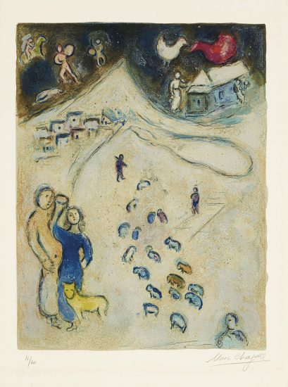 Marc Chagall Lithograph, L'Hiver (Winter), from Daphnis et Chloé, 1961