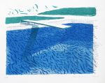 David Hockney Lithograph, Lithographic Water Made of Lines, Crayon, and Two Blue Washes, 1978-1980