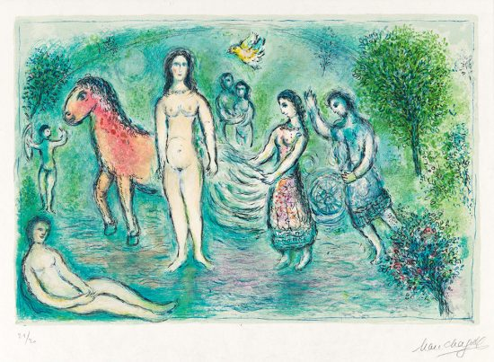 Marc Chagall Lithograph, L'Odyssée I – Ulysse devant Nausicaa (Ulysses before Nausicaa), from L'Odyssée (The Odyssey), 1974