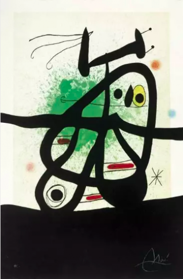 Joan Miró Etching, L'Oiseau Mongol (The Mongolian Bird), 1969